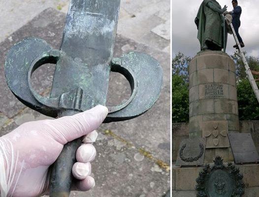 Notícia sobre o restauro da estátua de D. Afonso Henriques (2020).