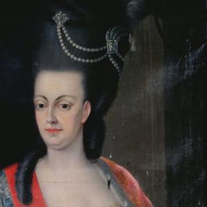 Pormenor da pintura Retrato da Rainha D. Maria I