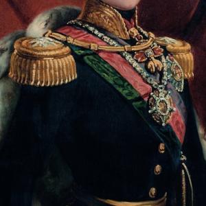 Pormenor da pintura Retrato do Rei D. Pedro V