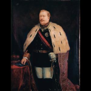 Pormenor da pintura Retrato do Rei D. Luís I