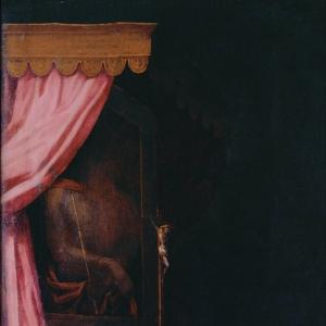 Pormenor da pintura Santa Teresa em oração
