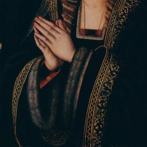 Pormenor da pintura Virgem em Oração