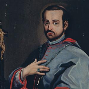 Pormenor da pintura Retrato de Juan de Palafox y Mendoza
