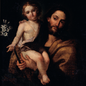 Pormenor da pintura São José com o Menino Jesus