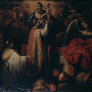 Pormenor da pintura Aparição da Virgem a um Santo Padre