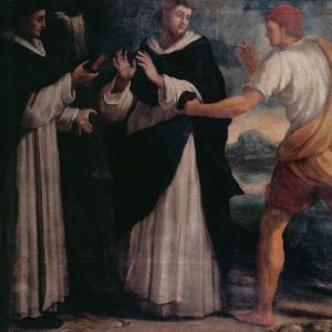 Pormenor da pintura Embarque de Frades