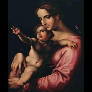 Pormenor da pintura Virgem com o Menino