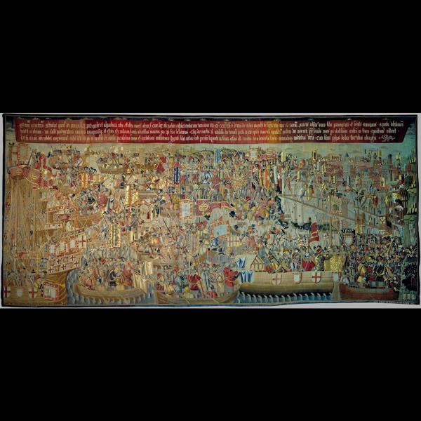 Pormenor da tapeçaria de Pastrana - O Desembarque