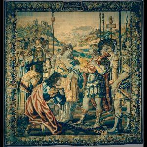 Pormenor da tapeçaria Cipião libertando uma princesa cartaginesa