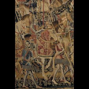 Pormenor da tapeçaria de Pastrana Tomada de Tânger