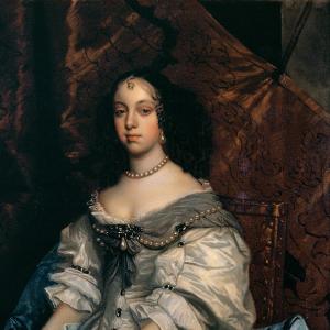Pormenor da pintura Retrato de D. Catarina de Bragança